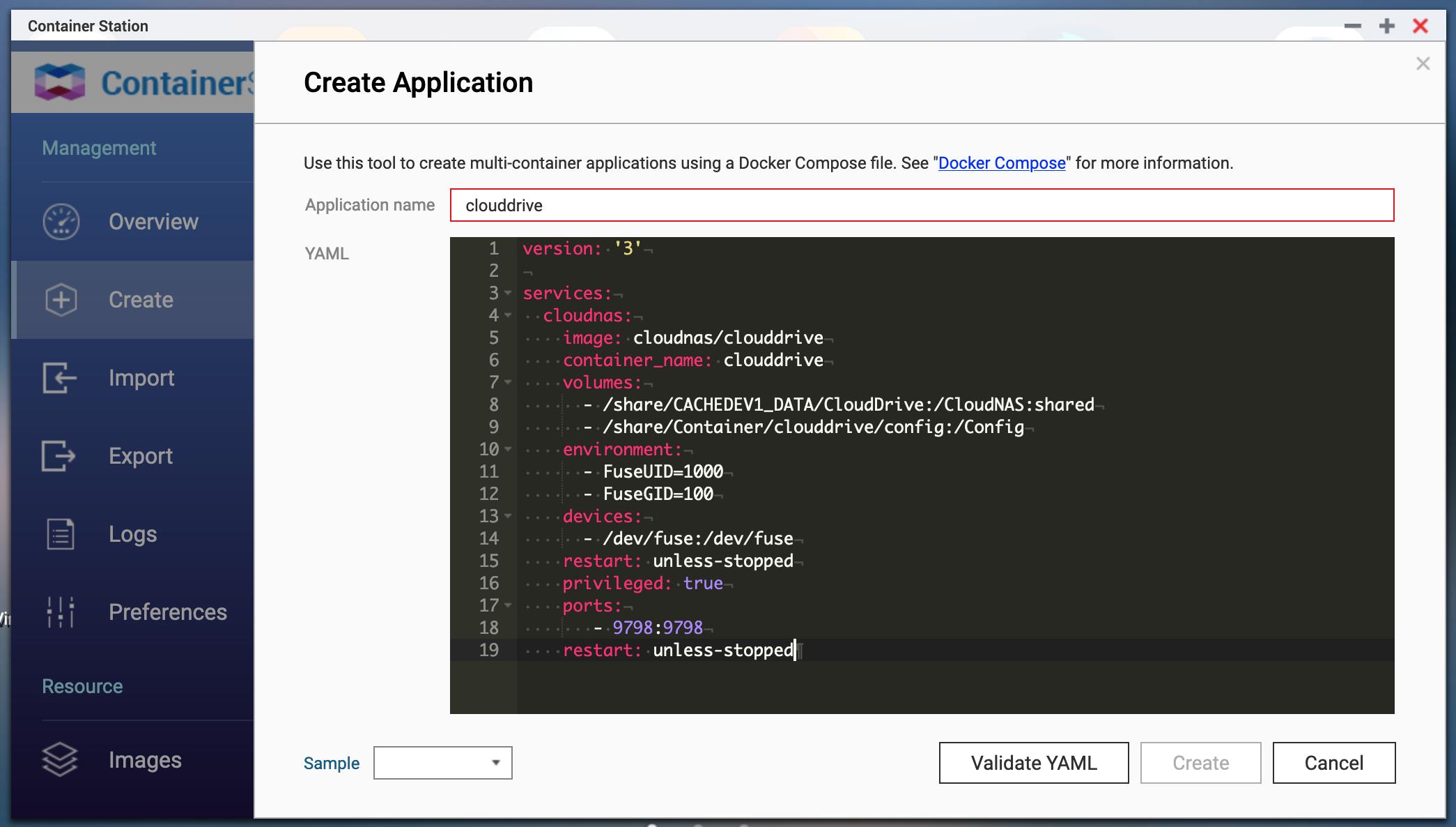 Create docker application