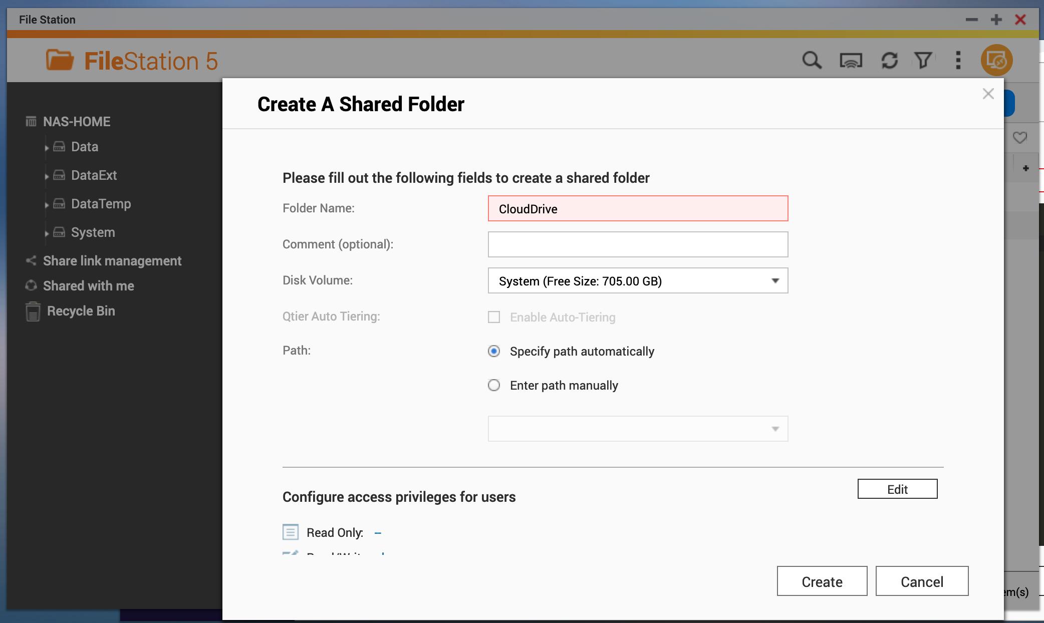 Create Sharefolder